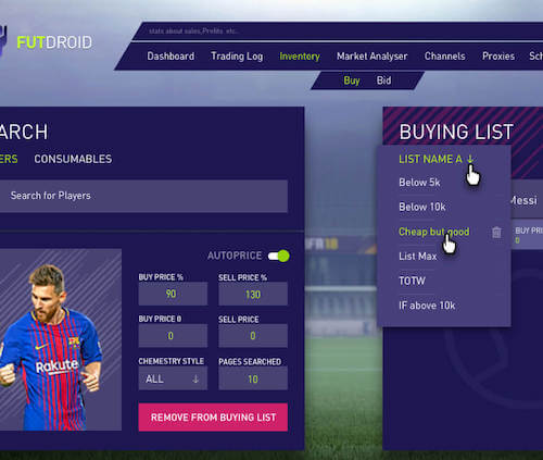 Login to FUTDroid & Create a Buying List