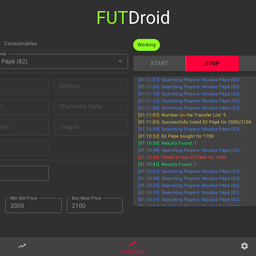 Trade Players Automatically with FUTDroid Autobuyer