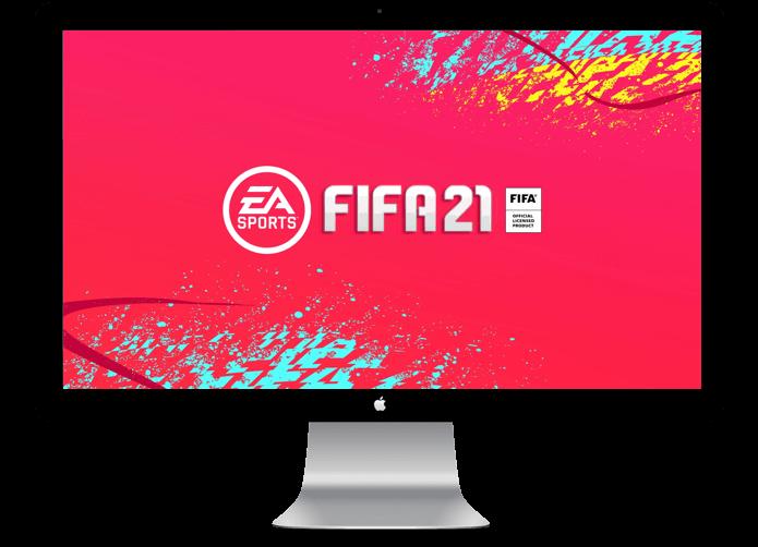 fifa 21 logo on a mac desktop display